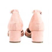 Sandały Na Niskim Słupku Z Zakrytymi Palcami Różowe Moly