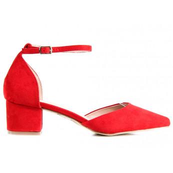 Sandały Na Niskim Słupku Z Zakrytymi Palcami Czerwone Moly