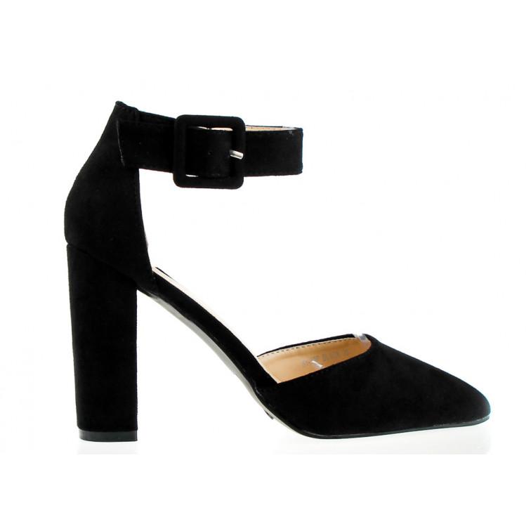 Sandały Na Słupku Z Klamerką Czarne Maini