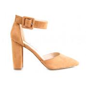 Sandały Na Słupku Z Klamerką Kamelowe Maini