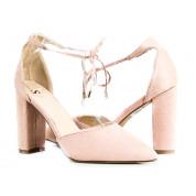 Sandały Na Słupku Wiązane Różowe Mou