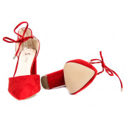 Sandały Na Słupku Wiązane Czerwone Mou