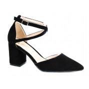 Sandały Na Słupku Z Delikatną Klamerką Czarne Meenie
