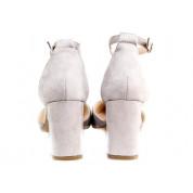 Sandały Na Słupku Z Delikatną Klamerką Szare Meenie