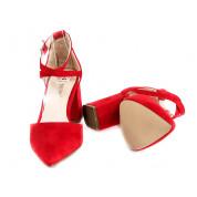 Sandały Na Słupku Z Delikatną Klamerką Czerwone Meenie