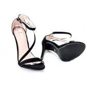 Sandały Szpilki Zamszowe Czarne Z Paskiem Slanti