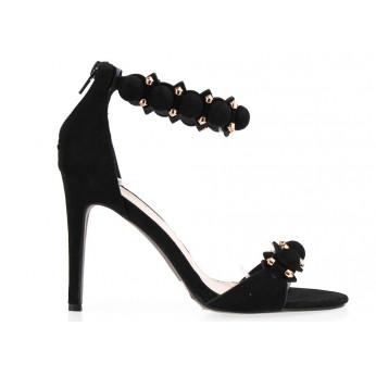 Sandały Na Szpilce Pompon Black V2