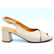 Sandały Open Heel Skórzane Beżowe Antonina
