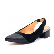 Sandały Skórzane Zamszowe z Czarnym Noskiem Czarne Vila