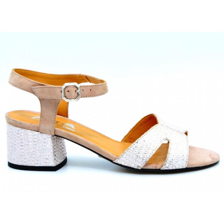 Sandały Skórzane z Cyrkoniami Beżowe Maja