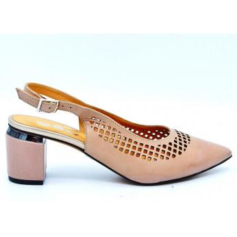 Sandały Open Heel Ażurowe Skórzane Beżowe Annika