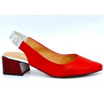 Sandały Skórzane Zamszowe Open Heel Czerwone Moebia