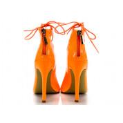 Sandały Na Szpilce Wiązane Neonowe Pomarańczowe Amber