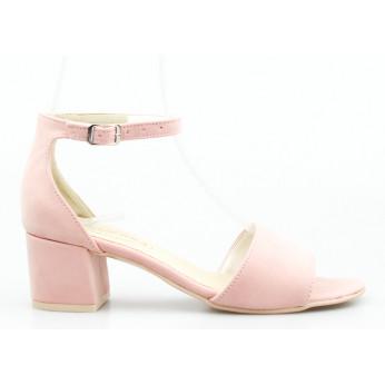 Sandały na Klocku Zamszowe Różowe Demeter