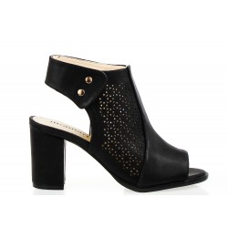 Sandały Na Słupku Ażurowe Czarne Quatrea