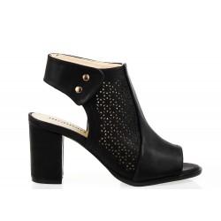 Sandały Na Słupku Monnari Ażurowe Czarne Quatrea