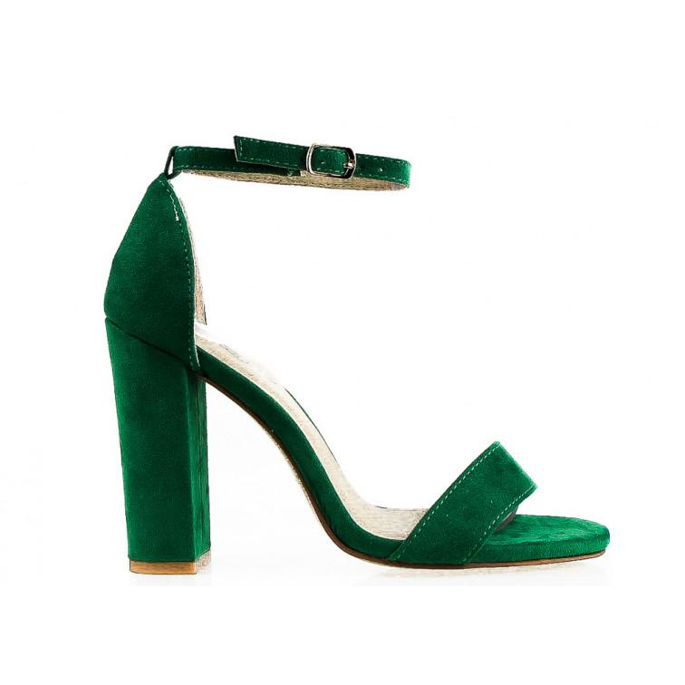 9d84207033acf4 Sandały Z Klamerką Eko Zamszowe Zielone Nina - Ekstra Szpilki