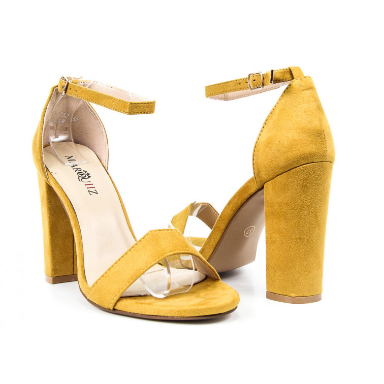 b3117d5f1848a0 Sandały Z Klamerką Eko Zamszowe Żółte Nina - Ekstra Szpilki