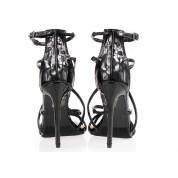Sandały Na Szpilce Lakierowane Czarne Fascia