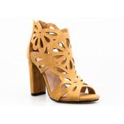 Sandały Ażurowe Zabudowane Kamelowe Cherish Me