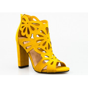 Sandały Ażurowe Zabudowane Żółte Cherish Me