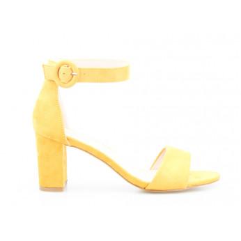 Sandały Na Niskim Słupku Eko Zamszowe Żółte Ewa