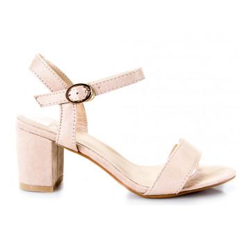 Sandały Na Słupku z Klamerką Beżowe Girdle