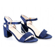 Sandały Na Słupku z Klamerką Granatowe Girdle