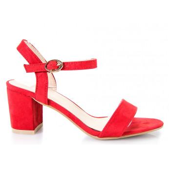 Sandały Na Słupku z Klamerką Czerwone Girdle