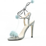 Sandały Na Szpilce z Pomponikami Szare Duvet