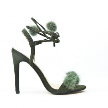 Sandały Na Szpilce z Pomponikami Khaki Duvet