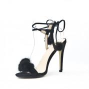 Sandały Na Szpilce z Pomponikami Czarne Duvet