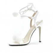 Sandały Na Szpilce z Pomponikami Białe Duvet