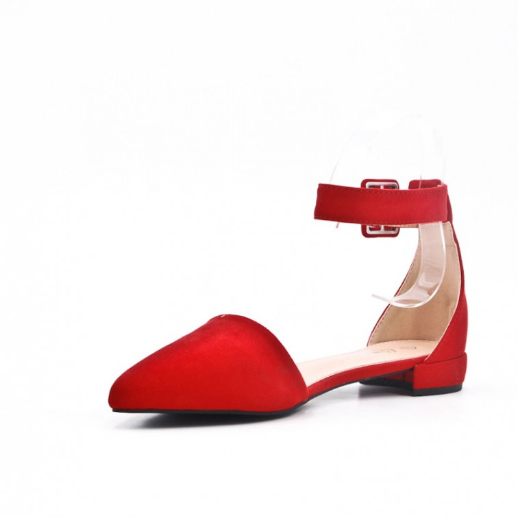 d3587f382 Red Sandals On Low Heel Pointe - Ekstra Szpilki