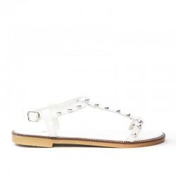 Sandały Damskie z Klamerką Białe Gemmes