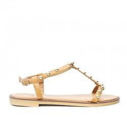 Sandały Damskie z Klamerką Kamelowe Gemmes