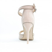 Sandały Na Szpilce z Cyrkoniami Beżowe Brillez