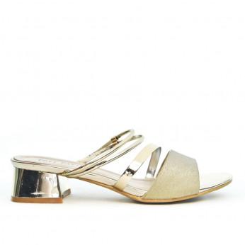 Sandały Damskie Na Obcasie Lakierowane Złote Lueur