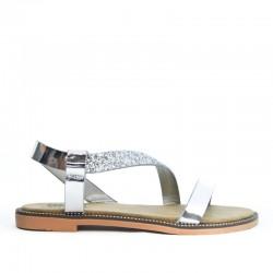 Sandały Damskie z Cekinowym Paskiem Srebrne Sequin