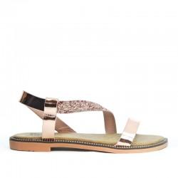 Sandały Damskie z Cekinowym Paskiem Szampańskie Sequin