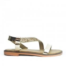 Sandały Damskie z Cekinowym Paskiem Złote Sequin