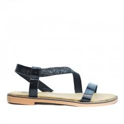 Sandały Damskie z Cekinowym Paskiem Czarne Sequin