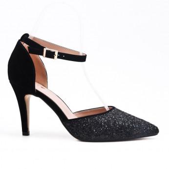 Sandały Na Szpilce Brokatowe Czarne Milano
