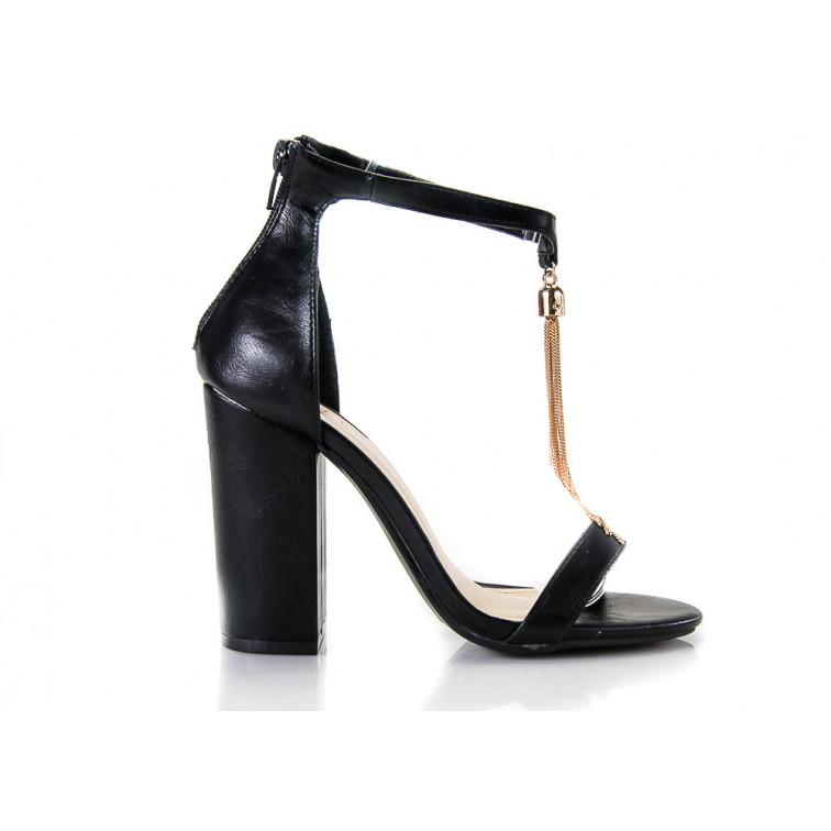 Sandały Eko Skórzane z Wisiorkiem Czarne Pendant