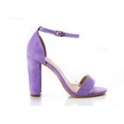 Sandały Z Klamerką Eko Zamszowe Fioletowe Fashion