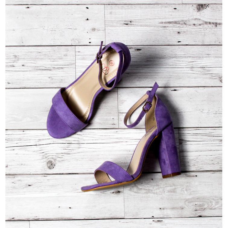 Sandały Fioletowe Z Klamerką