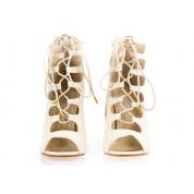 Sandały Na Szpilce Wiązane Beżowe Maiden