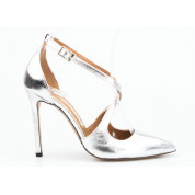 Sandały w Szpic Skórzane Srebrne Gina