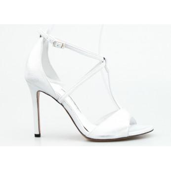 Sandały Przecierane Skórzane Srebrne Jasmine