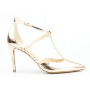 Sandały w Szpic Skórzane Złote Valentina